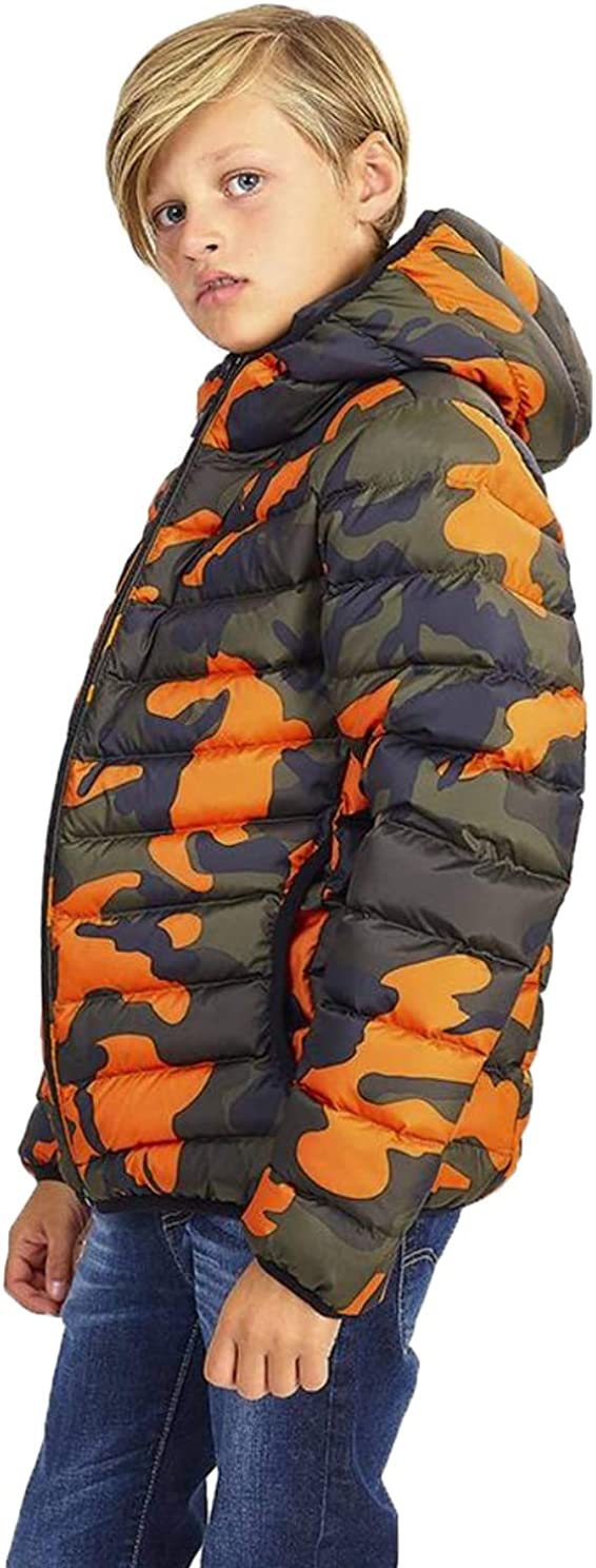 NOROZE Kids Jacket Padded Gradient Camo Boys Jacket Lightweight Quilted Coat