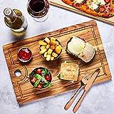 bar@drinkstuff Teak Wood Serving Board 42.5 x 27cm - Serving Platter, Food Board, Burger Board, Wooden Board