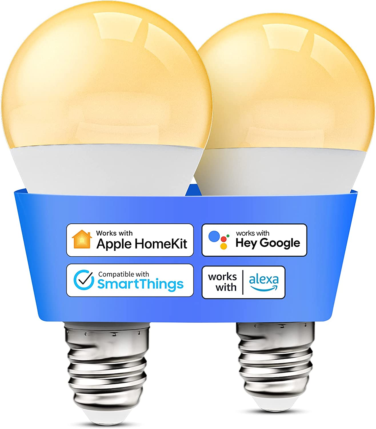 Smart Light Bulb, meross Dimmable WiFi LED Bulb Compatible with Apple HomeKit, Siri, Alexa, Google Home, SmartThings, A19 E26 Warm White 2700K, 810 Lumens 9W 60W Equivalent, No Hub Required, 2 Pack