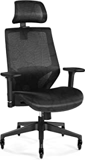 Tribesigns Ergonomic Office Chair with 3D Armrest, High Back Mesh Desk Chair with Lumbar Support, Skate Style Wheels and Saddle Seat Cushion, Adjustable Headrest, Backrest, BIFMA Certified