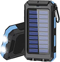 Solar Charger 20000mAh Portable Solar Power Bank for Cell Phone Waterproof External Backup Battery Power Pack Charger Buil...
