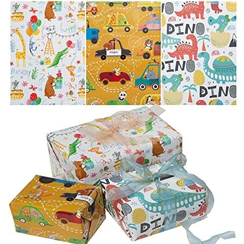 12 fogli di carta da regalo per bambini cartone animato modello di dinosauro colorato pacchetto di carte regalo artigianale carta da regalo riciclabile per ragazzi ragazze compleanno Natale 50 x 70 cm