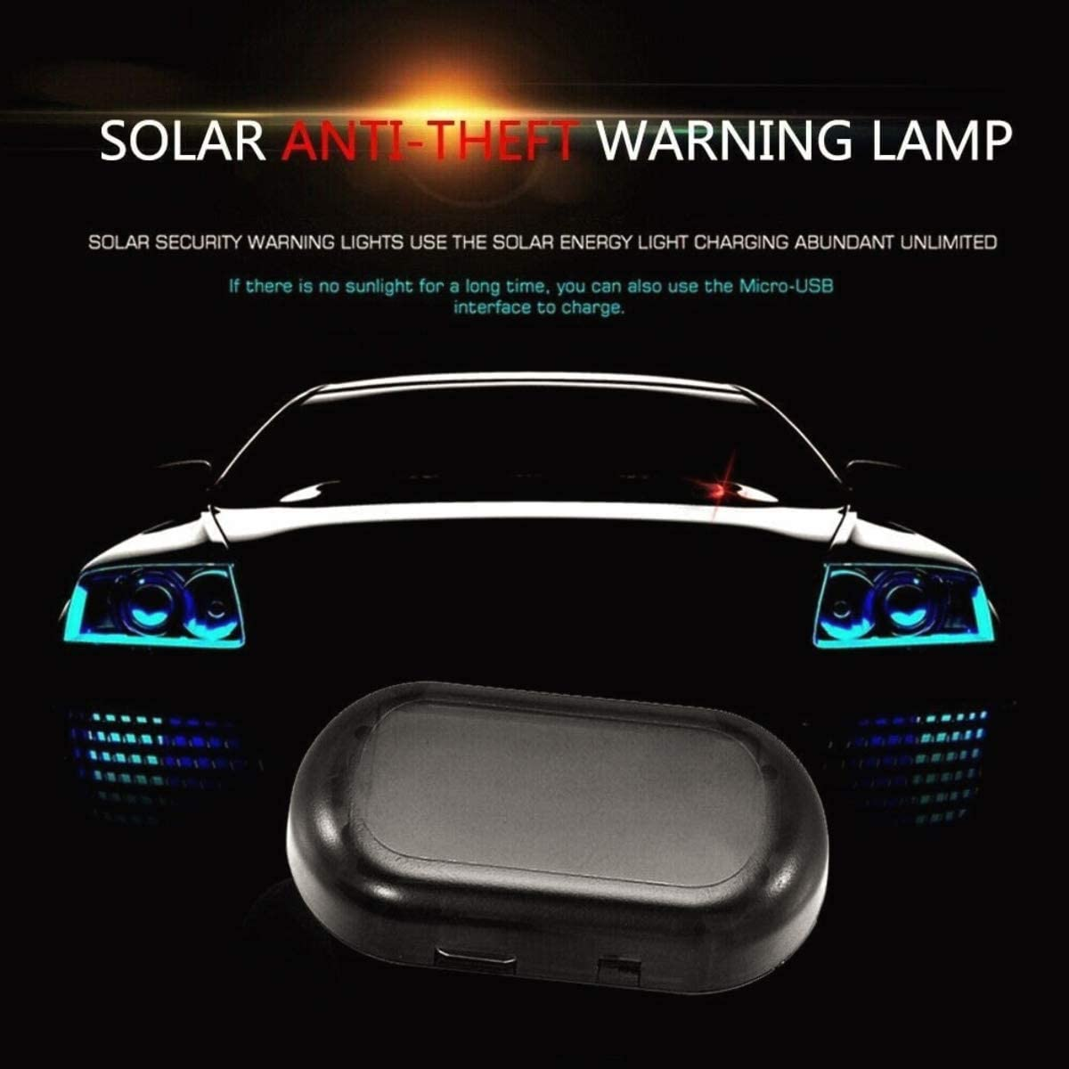 Car Alarm Light Car Solar Power Simulated Dummy Alarm Warning Anti-Theft LED Flashing Security Light with New USB Port, Blue x2