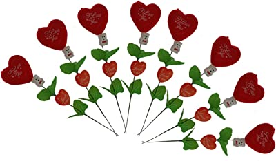 Collectible India Artificial Heart Shape Roses And Teddy Bear (Red, 8 Pieces)