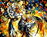 FGHJSF Pintura por Números Tigre Animal Abstracto DIY Pintura al óleo con Pinceles y Pinturas para Adultos Niños Principiantes Decoración del Hogar Y Regalo - 40 x 50 cm (Sin Marco)