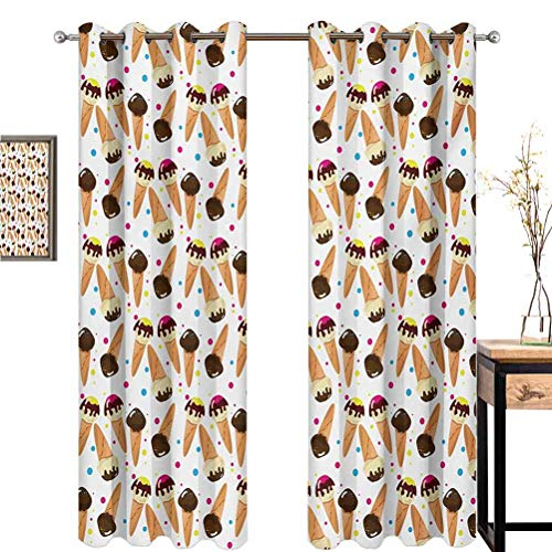 Purchase June Gissing Ice Cream Curtains for Living Room Chocolate Covered Ice Cream with Colorful L...