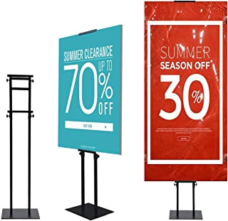 YDisplay Pedestal Poster Stand Display Floor Sign Stand Heavy Duty Sign Holder Stand with Base Height Adjustable for Display Board & Foam Sign,Black