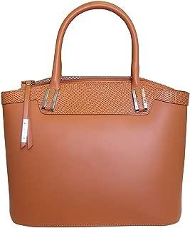 'Eleganza' Designer Italian Leather Tote Bag Grab Handbag Wedding Bag - Tan