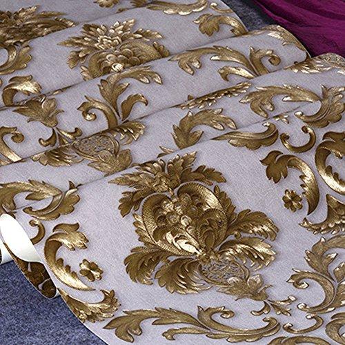 Kaluori 32,8 Ft x1.738ft Luxus Metallic Gold und Creme Strukturierte Damast Tapete Home Raum Wand Papier Rollen für Wohnzimmer, Schlafzimmer, Bars