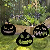 Cosershow Halloween Decorations Outdoor, 3PCS Black Pumpkin Yard Signs with Stakes, Scary Pumpkin Silhouette for Halloween Garden Lawn Party Decor