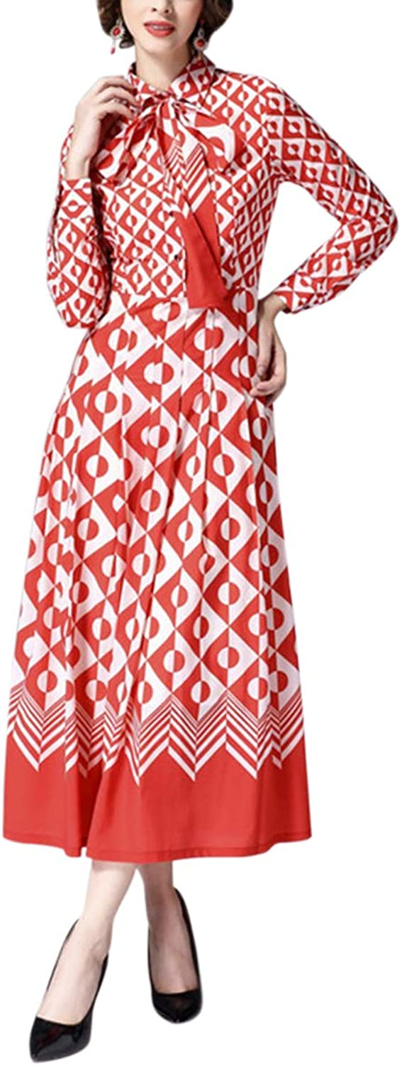 Bow Tie Stand Neck Polka Dot Print Long Sleeve Flared Swing Dress Women (color   Red, Size   M)