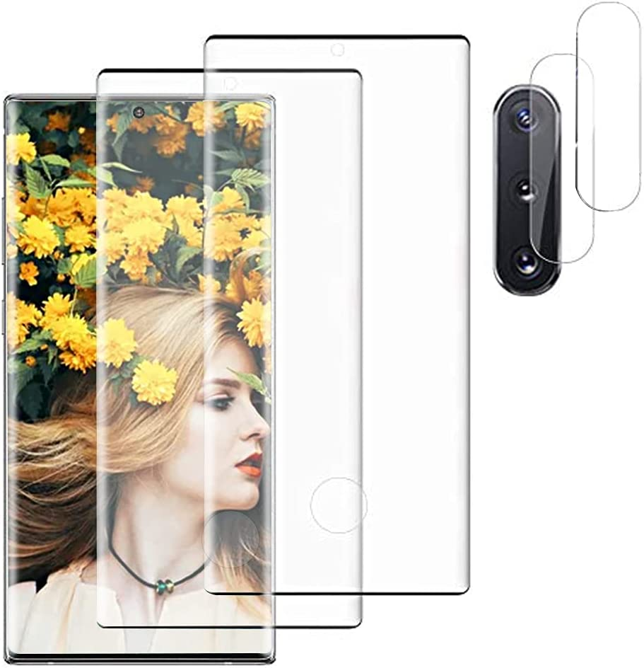 【2+2Pack】For Samsung Galaxy NOTE 10 (6.3in) 5G Screen Protector Tempered Glass + 2Pcs Camera Lens protection film [HD Bubble Free] [3D Curved Coverage] Support Fingerprint Unlock