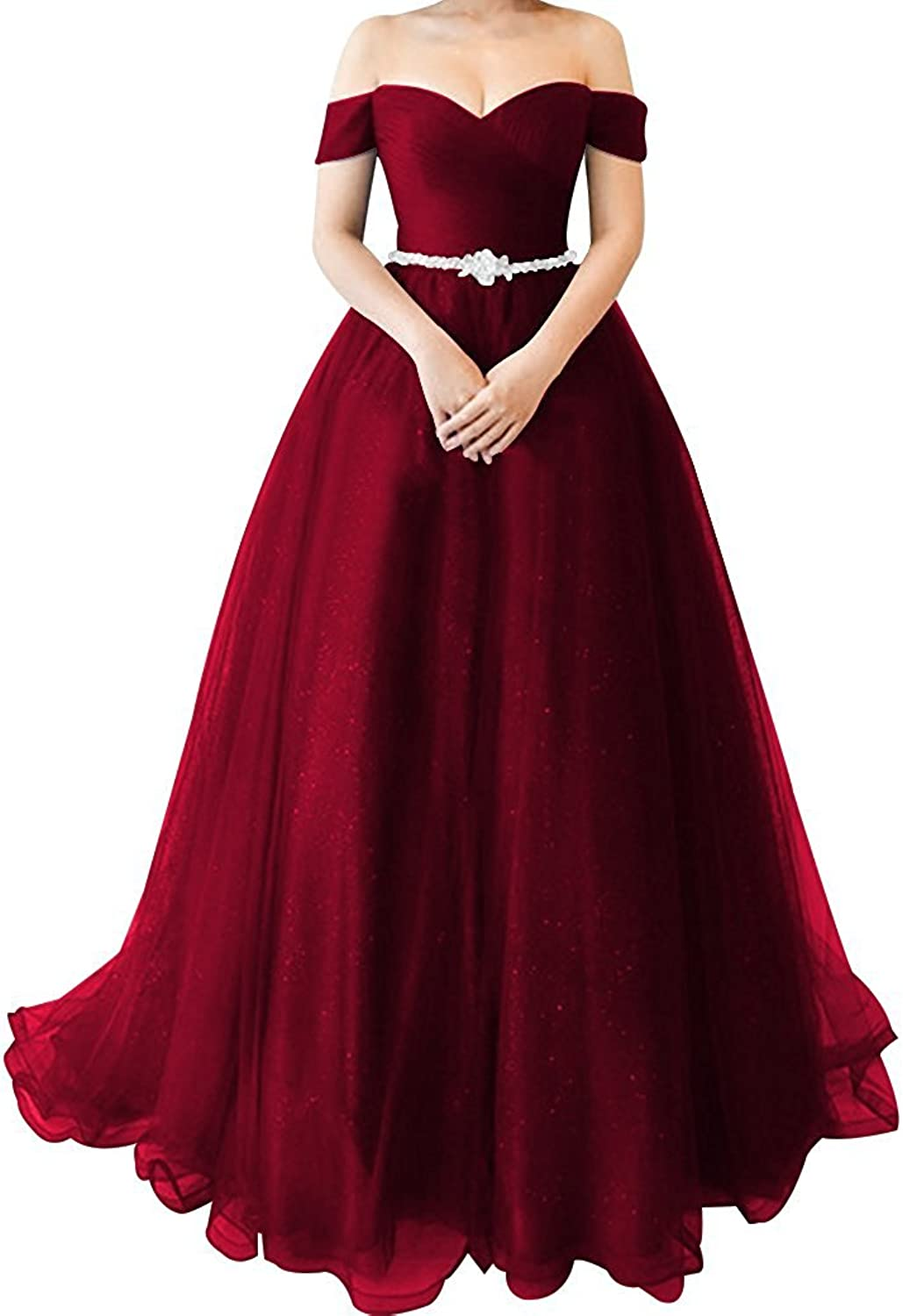 Luccatown Women's Off Shoulder Sweep Train Tulle Ball Gown Prom Dress Evening Gowns with Crystal Belt