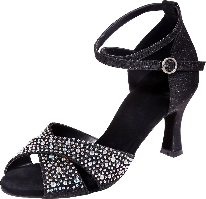 Vimedea Womens Professional Dance shoes Rhinestone Soft Sudue Sole 3IN Ankle Straps Peep Toe Glitter PU