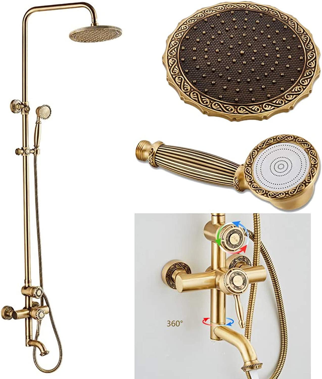 GYKFY Kupfer Antik Duschsystem One Button Three Control Badezimmer Regendusche Set Hhe und Winkel einstellbar Brausebatterie Wandmontage Wasserhahn Set