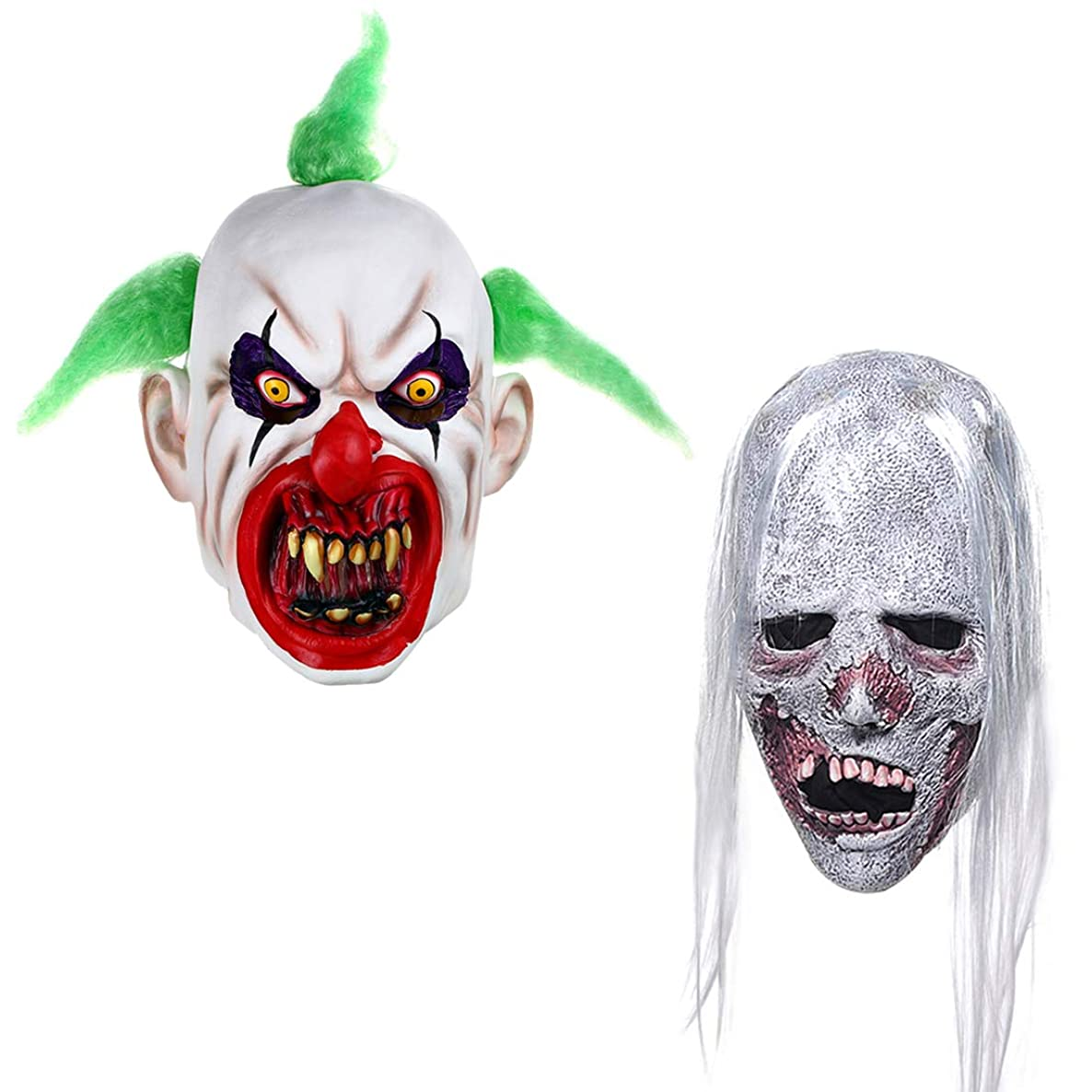 2 PCS Latex Halloween Party Props Scary Clown Mask for Adults and Horror Zombie Mask with Hair for Men