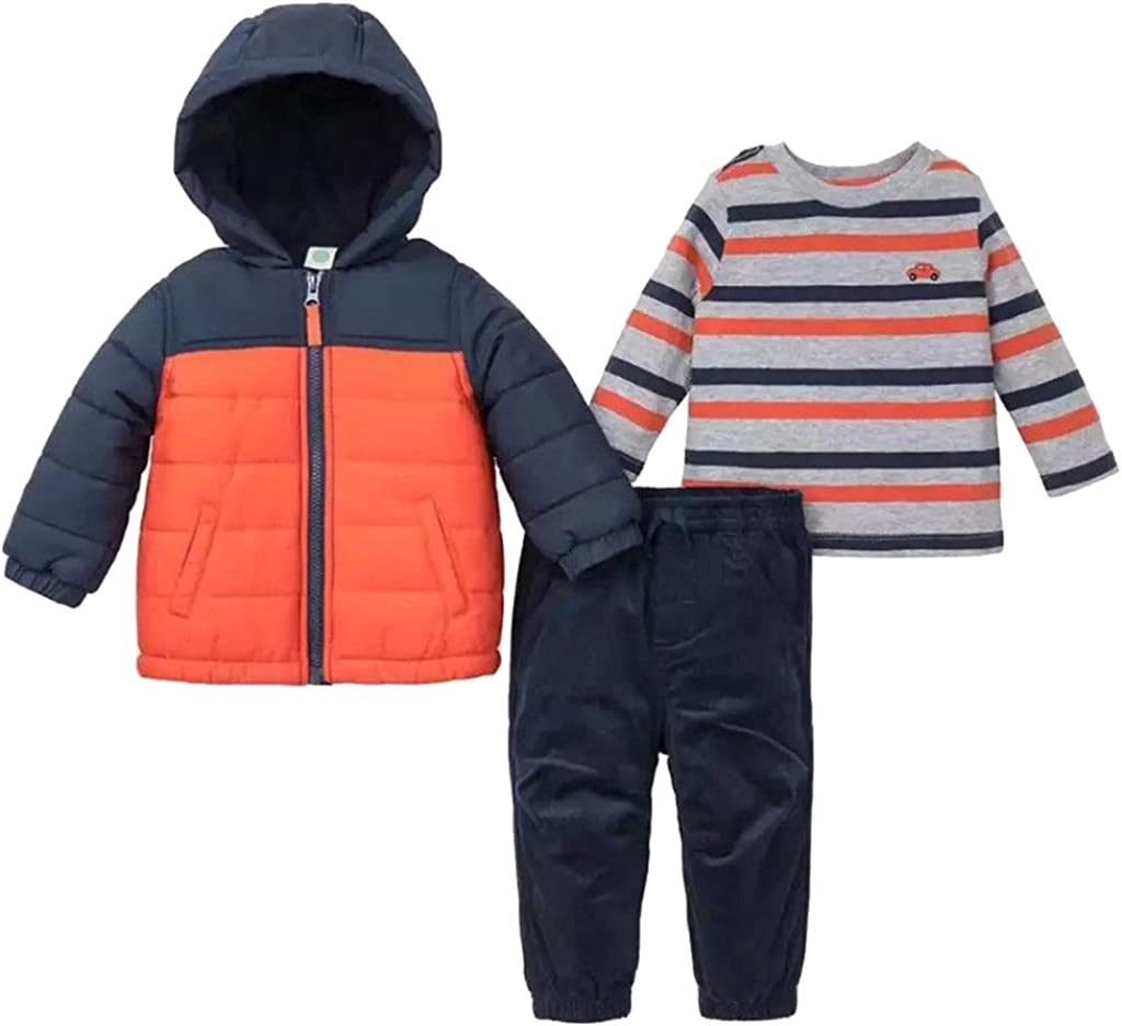 Little Me Baby Boys' 3 Piece Hooded Jacket and Pant Set (Navy/Orange, 3T)