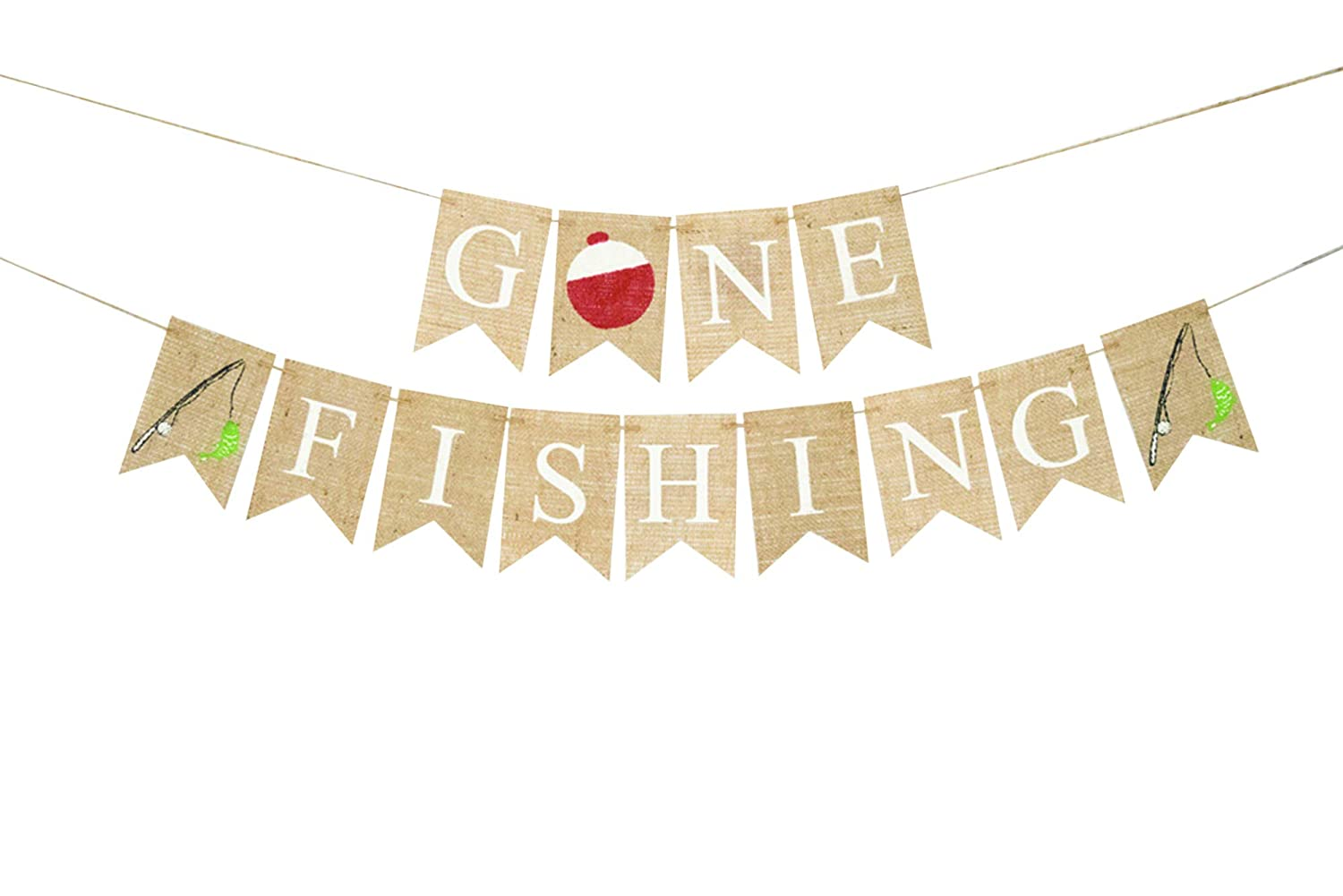 Gone Fishing Banner New item for famous Birthday Decor Home or Party