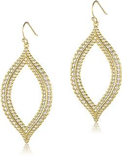 Dangle Earrings 14K Gold Plated Cubic Zirconia Lace Design Teardrop Fashion Jewelry for Women