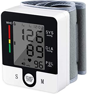 Wrist Blood Pressure Monitor, Automatic High Blood Pressure Monitor Adjustable Cuff, LCD Display Includes Batteries, 2X 90 Memory Home Use BP Machine Kit (Black)
