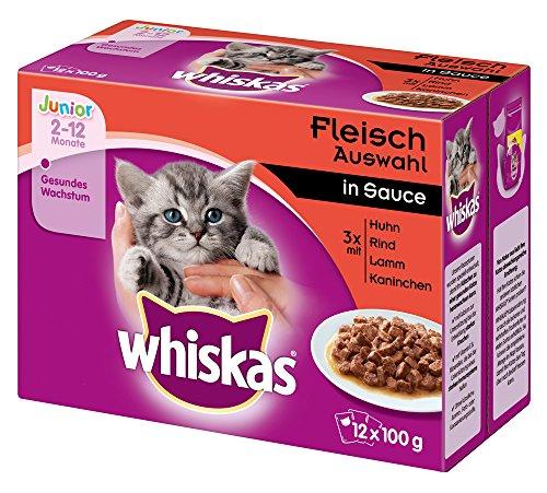 Whiskas Cibo umido per gatti Junior  1 gatto/Kitten classico selezione in salsa, 12 sacchetti per porzioni (12 x 100 g)