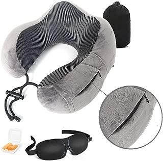 Urlite Travel Neck Pillow, Special Zipper Pocket Design, with Bonus Earplugs, Eye Mask and Storage Bag. No Odor,Eco Memory Foam, 360degree Neck Head Support,Super Soft Velvet and Washable Cover, Velvet, Grey, 15cm*14cm