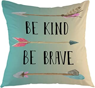 oFloral Decorative Throw Pillow Cover Be Kind Be Brave Inspirational Quote Arrow Pillow Case Watercolor Bohemian Square Cushion Cover for Sofa Couch Home Car Bedroom Decoration 18