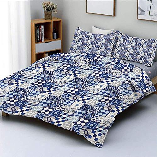 Juego de funda nórdica, patrón de azulejo de mosaico inspirado en patchwork vintage, tradicional, clásico, decorativo, juego de cama de 3 piezas con 2 fundas de almohada, azul marino, azul, blanco, el