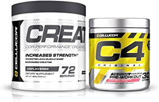 Cellucor Pre Workout & Creatine Bundle, C4 Original Pre Workout Powder, Strawberry Margarita, 30 Servings + Cor Performanc...