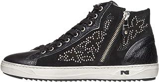 Nero Giardini A806471D Sneakers Alte Donna in Pelle, Camoscio E Tela