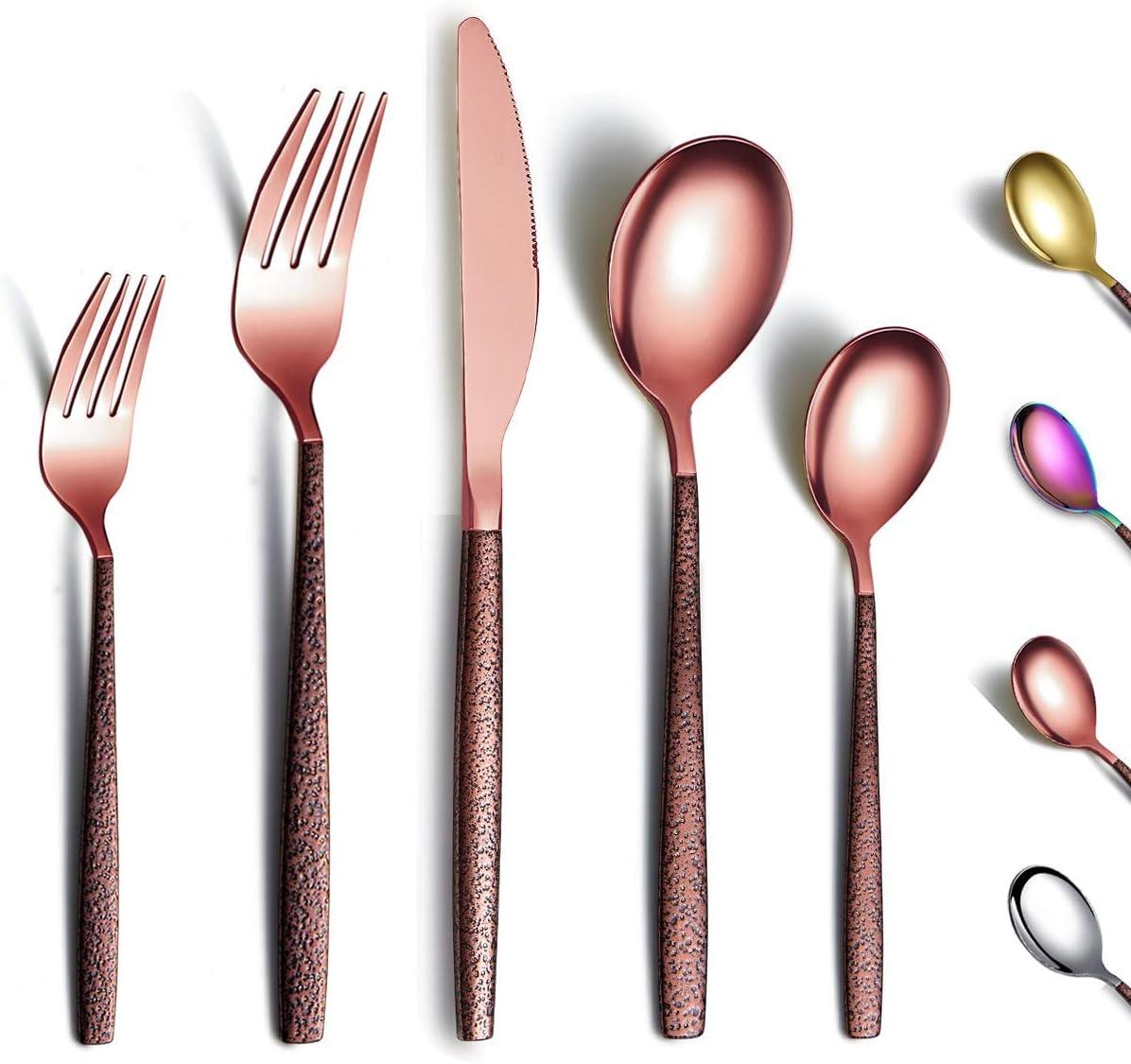 Berglander Juego de cubiertos de 30 piezas con mango de superficie lunar y cabeza de oro rosa brillante enchapado en titanio acero inoxidable cobre cuberteria utensilios servicio para 6