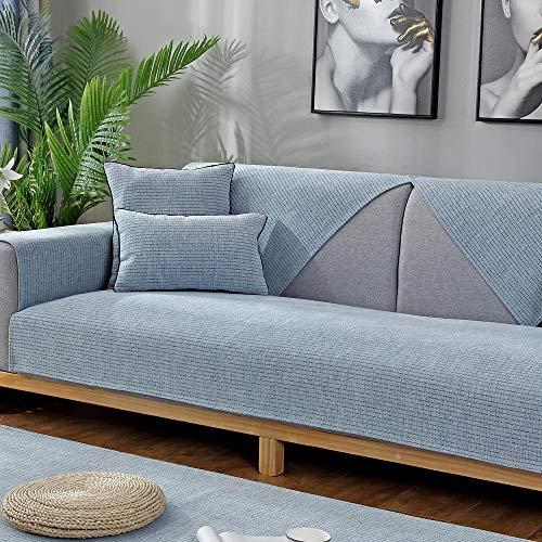 YUTJK Für Haustiere Couch Sofa Überwürfe,Anti-rutsch Übergroßen Spitze Couch Sofa Überwürfe Couch-Shield,Sofaschoner,Für Ledersofas,Monochrome Chenille Home-Sofa-Cover,Blau_70×150cm