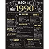 30 Years Ago Birthday or Wedding Anniversary Poster 11 x 14 Party Decorations Supplies Large 30th Party Sign Home Decor for Men and Women (Back in 1990-30 Years)
