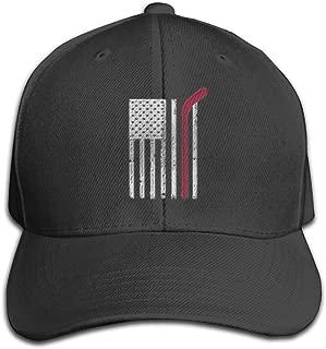 Embroidery Men's Trucker Hat Adjustable Snapback Cap - Red Hockey Stick American Flag