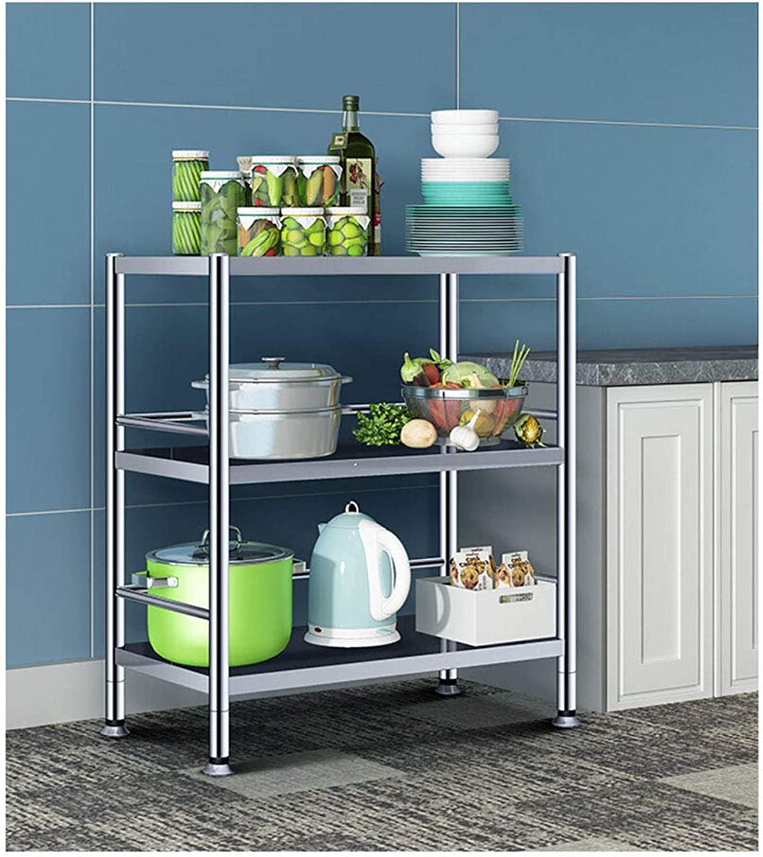 Kitchen Storage Shelf Widened Kitchen Bathroom Bedroom Living Room Rack Stainless Steel Three-Layer Storage Rack Microwave Oven Rack Organisation (Size   Width-70)