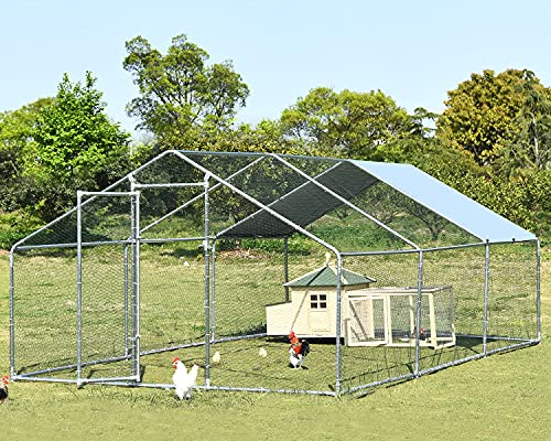 Large Metal Chicken Coop Hen Run Duck House Outdoor Walk-in Poultry Cage Rabbits Habitat Cage Spire Shaped Coop with Waterproof and Anti-Ultraviolet Cover for Backyard Farm Use 9.8'L x 19.7'W x 6.4'H