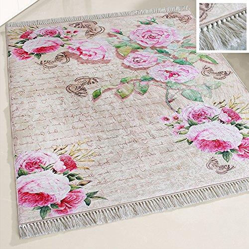 mynes Home Waschbarer Teppich Blumen Blüten Design Shabby Chic Rosa Rose Vintage Landhausstil Modern Designer mit Anti-Rutsch Rücken für Küche Küchenläufer Wohnzimmer (120cm x 170cm)