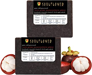 Soulflower Mangosteen Apple Handmade Soap with Coconut Oil, Natural, Organic, Vegan & Coldprocessed, 5.3oz x 2 bars