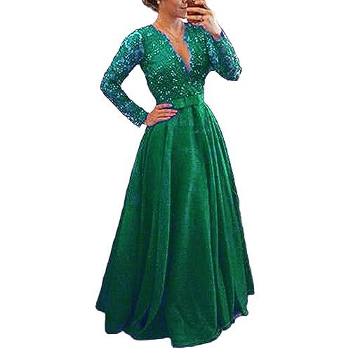 Mathena Women s Beaded Lace Illusion Long Sleeve Mother Prom Evening Dress 8188cc0fd93c