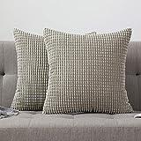 MIULEE 2er Set Cord Weiches Massiv Dekorativen Quadratisch Überwurf Kissenbezüge Kissen für Sofa...