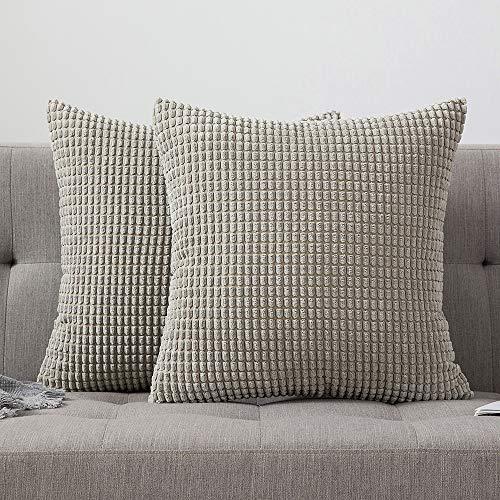 MIULEE 2er Set Cord Weiches Massiv Dekorativen Quadratisch Überwurf Kissenbezüge Kissen für Sofa Schlafzimmer Auto 18