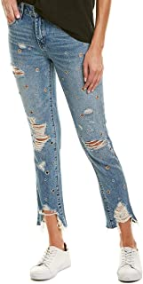 Blank NYC Womens The Rivington High-Rise Tapered Distressed Jeans with Grommets in Bohemian Rap City
