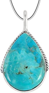 Turquoise Pendant Necklace in Sterling Silver 925