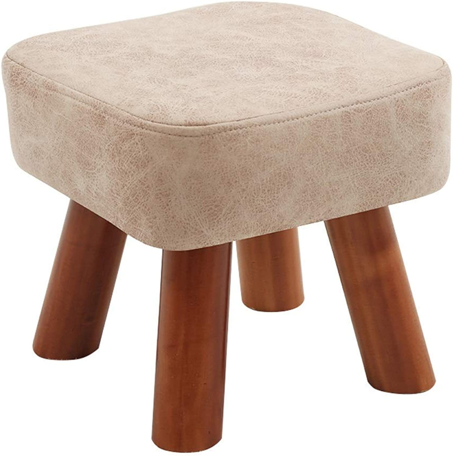Wooden shoes Bench PU Leather Seat Padded Footstool with Solid Wood Frame (Beige) (Size   28×28×18cm)