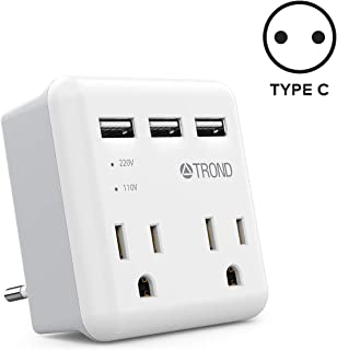 European Plug Adapter, TROND International Power Adapter with 3 USB 2 Outlets, Travel Adapter for US to Europe France Germany Iceland Italy Spain, Type C
