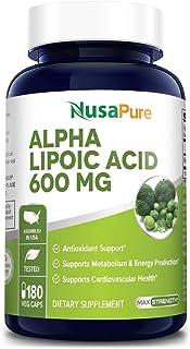 Alpha Lipoic Acid 600 mg per Caps - 180 Veggie Capsules (Vegetarian, Non-GMO & Gluten-Free) - Pure ALA Capsules