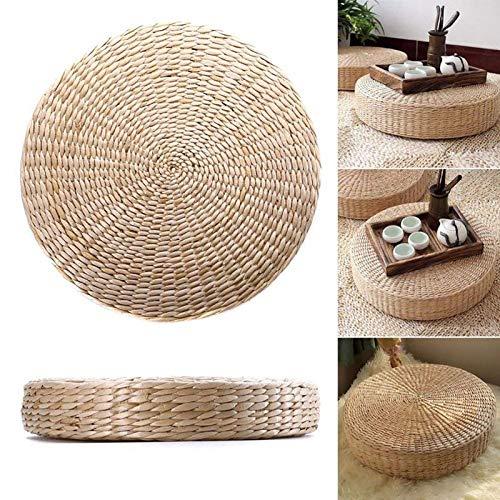 Esenlong Cojín de suelo japonés suave y redondo, para meditación, tatami, hecho a mano, tejido de paja para yoga, asiento para jardín, comedor, 40 x 6 cm
