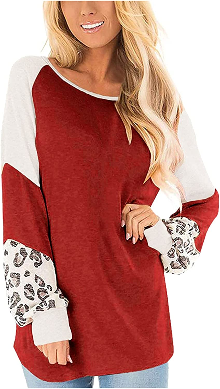 Xinantime Women's Casual Raglan Long Sleeve Tops Leopard Printed Patchwork Shirt Ladies Round Neck Loose Oversized Tunic