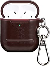 AirPods Case -Valkit AirPods Leather Case Cover[Front LED Visible] 360°Protective with Keychain Support Wireless Charging,AirPods Accessories Compatible with AirPods 2 & 1 (Brown)