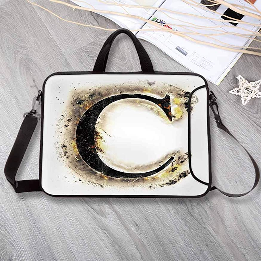 """Letter C Anti-Seismic Neoprene Laptop Bag,Letter C Flaming Backdrop Combusted Alphabet Symbol Paper Effect Writing Laptop Bag for Travel Office School,8.7""""L x 11""""W x 0.8""""H"""